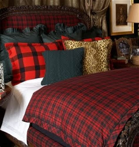 ralph lauren plaid bedding red and black buffalo check upholstered chair with black cable knit throw love it