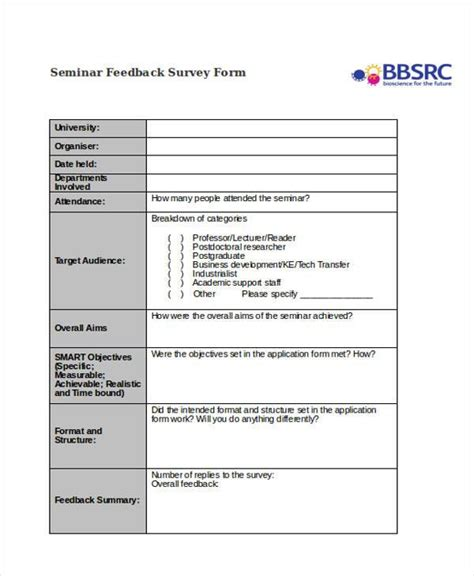 sle feedback form template seminar survey template 28 images evaluation form 15