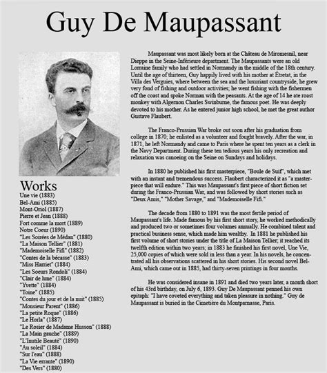 the biography of guy de maupassant guy de maupassant