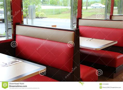diner benches colorful leather booth seats at the diner stock photo