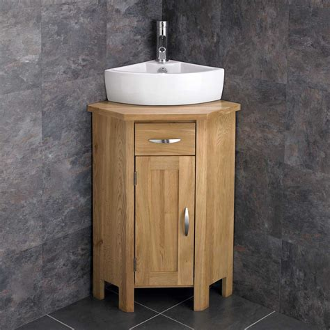 Corner Bathroom Sink Cabinet Ohio En Suite Corner Bathroom Cabinet Oak Vanity Unit Corner Sink Space Saving Ebay