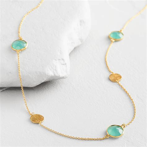 gold faceted gold faceted aqua necklace world market