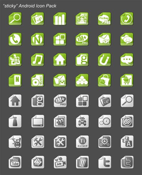 cool icons for android sticky android icon pack by nanozfun on deviantart