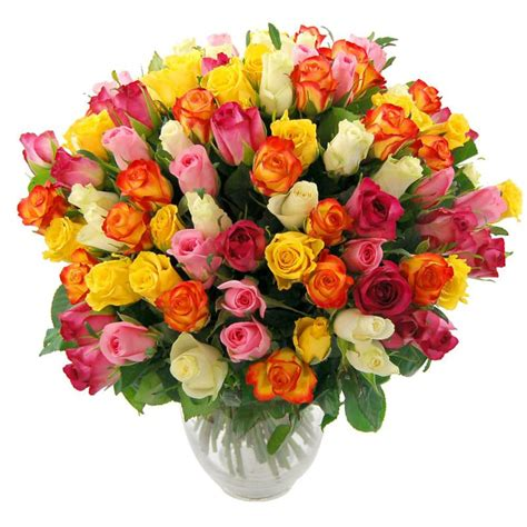 Bouquet Vase 100 Rainbow Roses Delivered To You By Clare Florist