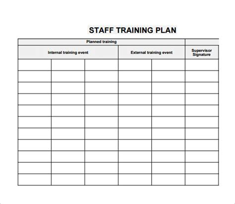 Employee Training Plan Template Business Letter Template Personnel Chart Template