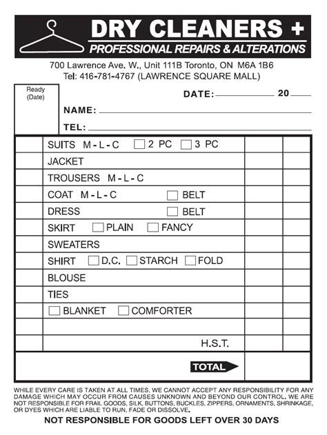 laundry receipt template pin cleaning receipt on