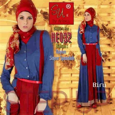 Promo Gamis Syari Fatma Biru Salem Busana Muslim Modern step up agastya biru baju muslim gamis modern
