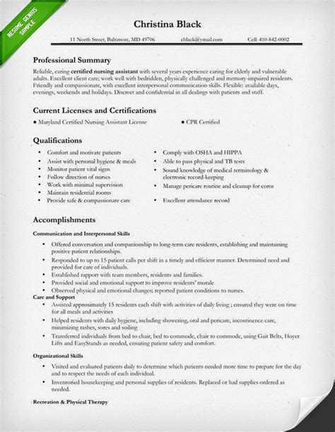 certified nursing assistant resume sle self improvement resume