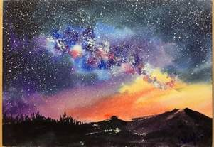 water color watercolor starry sky demonstration