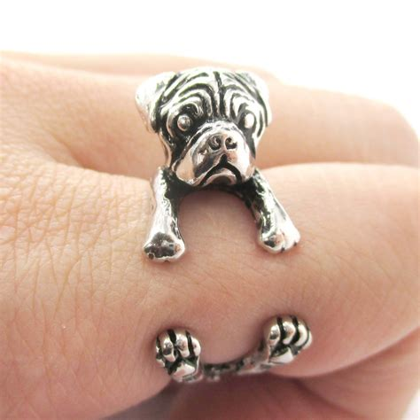 pug wrap ring 3d pug puppy animal wrap ring in shiny silver sizes 4 to 8 5 183 dotoly animal