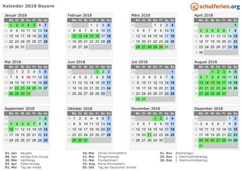 Kalender 2018 Bayern Schulferien Kalender 2018 Ferien Bayern Feiertage