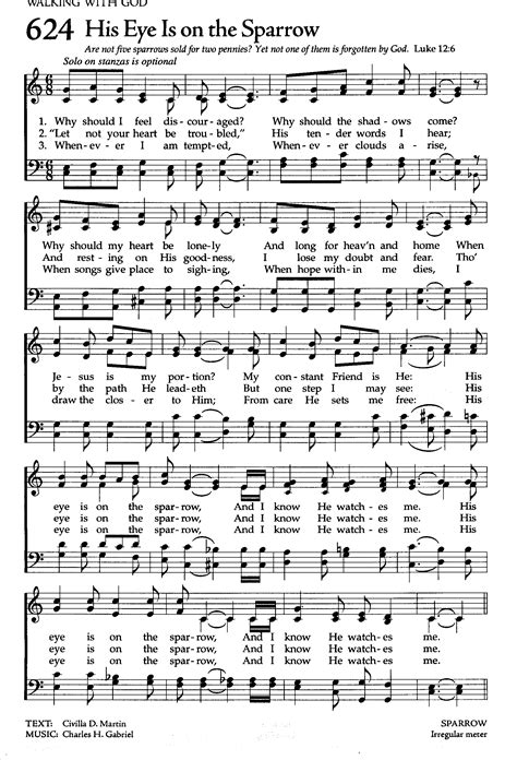 His Eye Is on the Sparrow. | Hymn sheet music, Christian