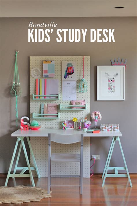 bondville kid s study space with pegboard