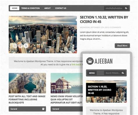 ajeeban free responsive wordpress theme for blog 10 th 232 mes responsive gratuits pour wordpress