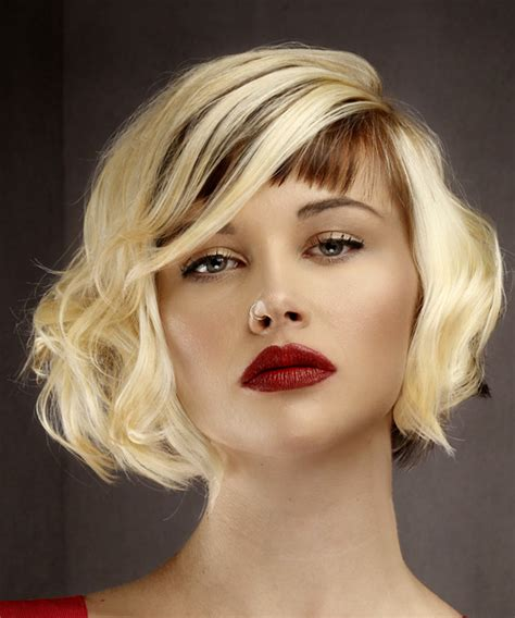 hairstyles with light bangs short wavy formal bob hairstyle with asymmetrical bangs