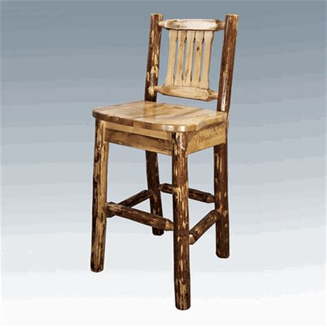 Pine Bar Stools With Backs by Amish Quot Glacier Quot Pine Log Bar Stool With Back