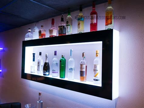 Wall Shelf Modern by Lighted Back Bar Wall Display Shelves Led Lighting