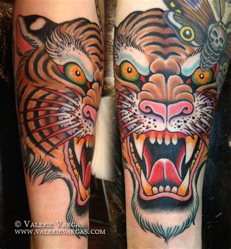 traditional tiger head tattoo school traditional ink tiger by valerie