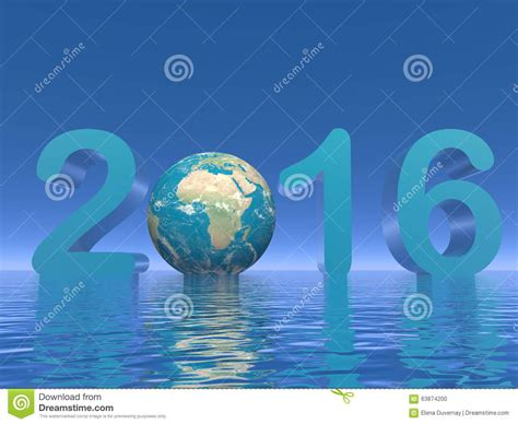 earth new year happy new year 2016 3d render stock illustration image