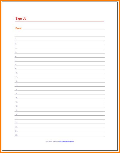 word template sign up sheet volunteer sign up sheet