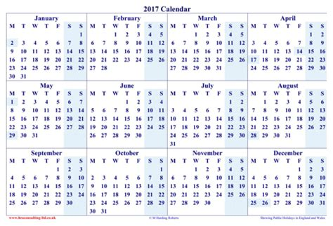 Calendar 2017 Excel Yearly Yearly Calendar 2017 For Excel Pdf And Word