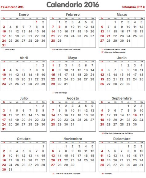 Calendario Oficial 2015 Mexico Calendario Laboral 2016 Para M 233 Xico