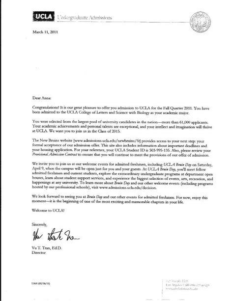Recommendation Letter Ucla Louisville Tutoring Agency Ucla Acceptance Letters 2015 Letter Sle