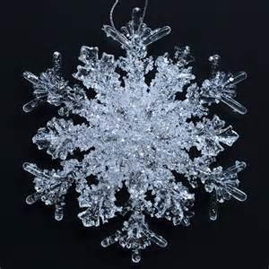 6 clear 4 5 inch acrylic glitter snowflake christmas ornaments