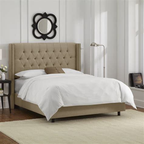 Skyline Bed by Skyline Furniture Nail Button Tufted Wingback Upholstered