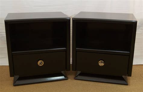 Black Lacquer Nightstand pair of black lacquer nightstands at 1stdibs