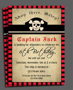 pirate invitation printable or printed with free shipping