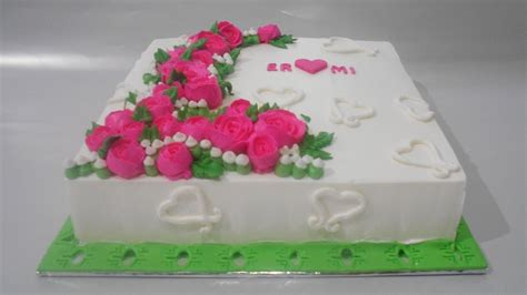 Flowers Cake Square Buttercream Decorating   YouTube