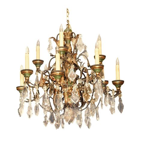 Antique French Wood Tole And Fine Crystal Chandelier 12 Antique Tole Chandelier