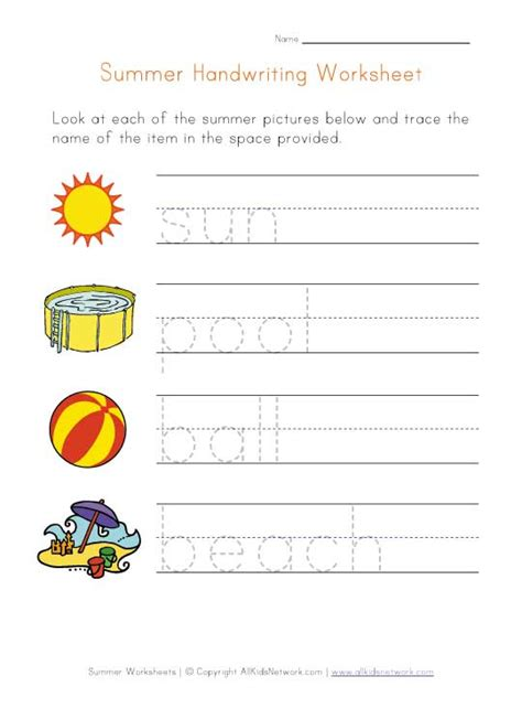 printable summer activity sheets summer handwriting practice worksheet