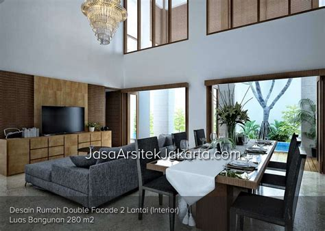 desain interior rumah luas desain rumah double facade 2 lantai luas bangunan 280 m2