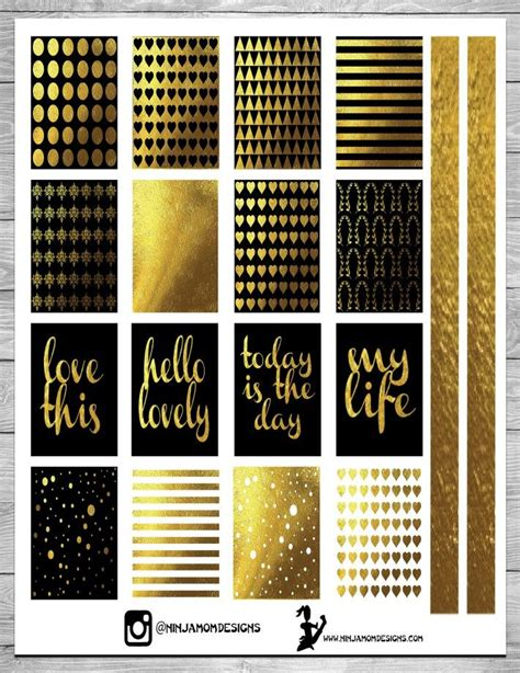 printable gold stickers free black and gold planner sticker printable by ninjamom