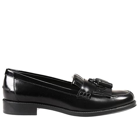 tod s flat shoes sole rubber loafer leather in black lyst