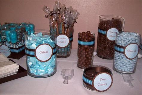 Blue And Brown Baby Shower Table Ideas Photograph Give - table baby shower chocolate idea baby shower