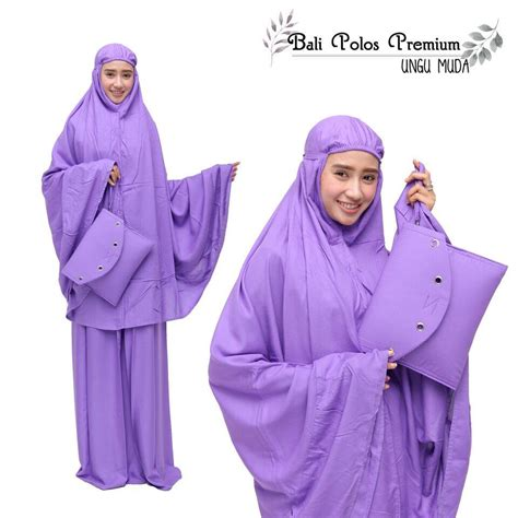 Mukena Katun jual mukena katun polos premium ungu muda motif cantik