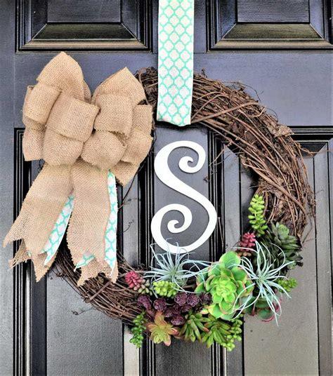 succulent wreath     spring door wreath