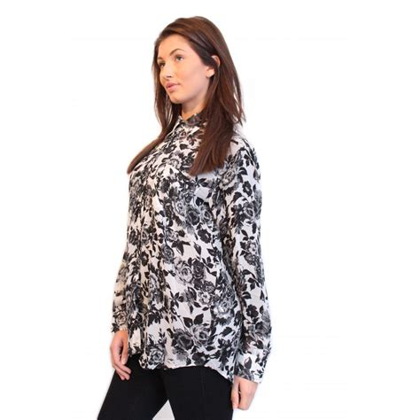 Black And White Chiffon Blouse by Black White Floral Print Chiffon Blouse From Parisia