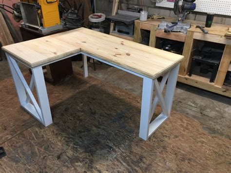 farmhouse l shaped desk l shaped desk created using 2x4 s and 2x8 s quarto