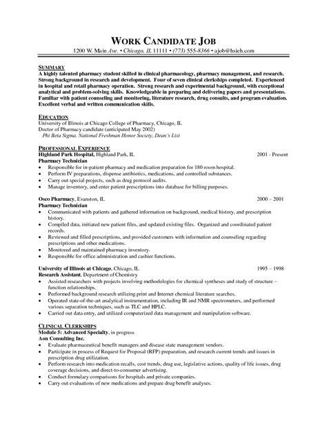 Resume Template Pharmacist by Skilled Pharmacy Student Resume Sle Featuring