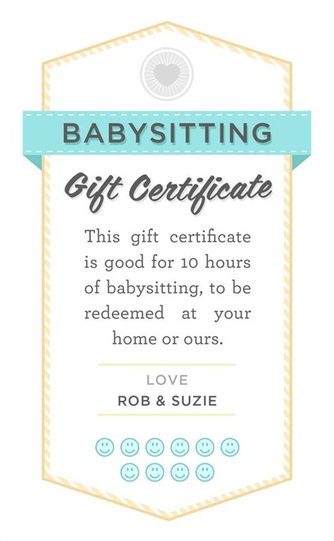 printable babysitting vouchers babysitting gift certificate download fully customizable