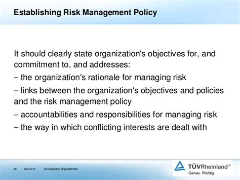 Implementing Enterprise Risk Management With Iso 31000 2009 Information Security Risk Management Policy Template