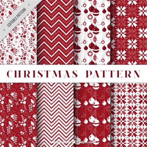 patterns free christmas pack of decorative christmas patterns in red color vector
