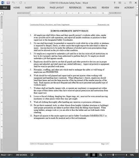 worksite safety rules guide template