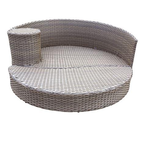 Tk Classics Oasis Circular Sun Bed Outdoor Wicker No Cushion Outdoor Furniture