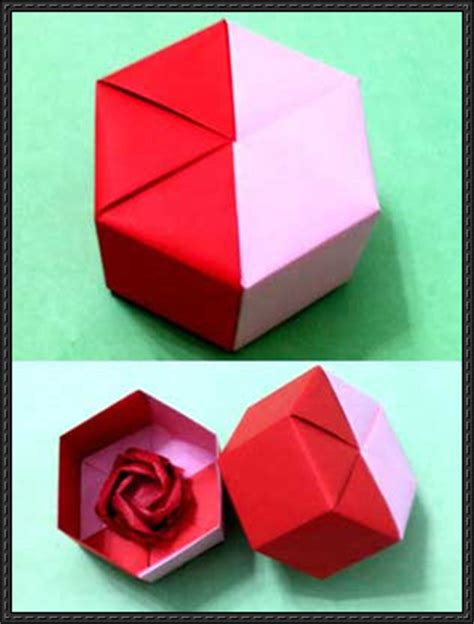 Origami Hexagonal Gift Box - papercraftsquare new paper craft origami hexagon