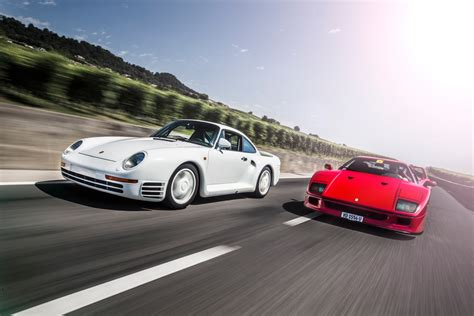 porsche 959 group porsche 959 and ferrari f40 the supercars that the group